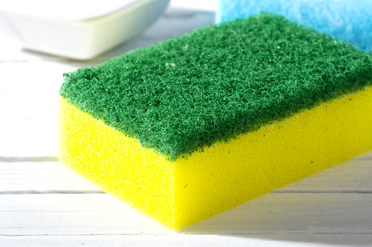 Kitchen sponge on a bench